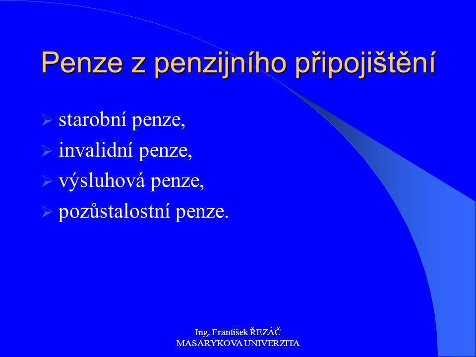 Ing. František ŘEZÁČ MASARYKOVA UNIVERZITA Penze z penzijního připojištění  starobní penze,  invalidní penze,  výsluhová penze,  pozůstalostní pen