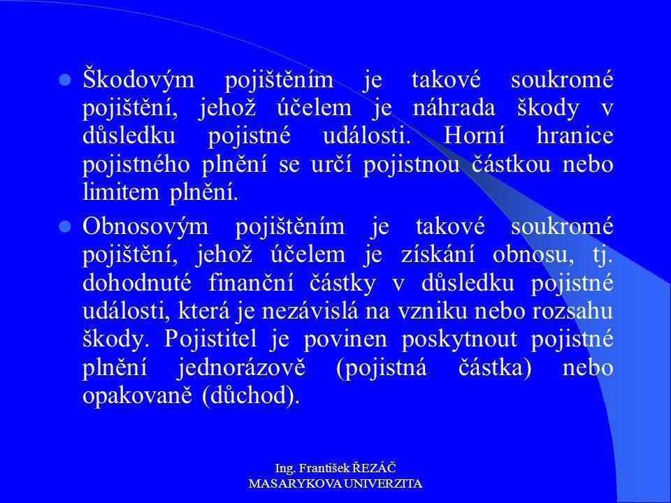 Ing. František ŘEZÁČ MASARYKOVA UNIVERZITA Škodovým pojištěním je takové soukromé pojištění, jehož účelem je náhrada škody v důsledku pojistné událost