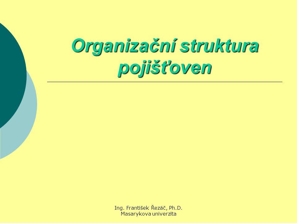 Ing. František Řezáč, Ph.D. Masarykova univerzita Organizační struktura pojišťoven