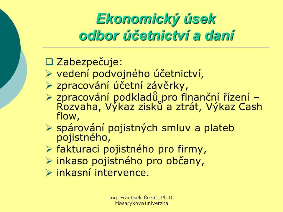 Ing. František Řezáč, Ph.D. Masarykova univerzita Ekonomický úsek odbor účetnictví a daní  Zabezpečuje:  vedení podvojného účetnictví,  zpracování