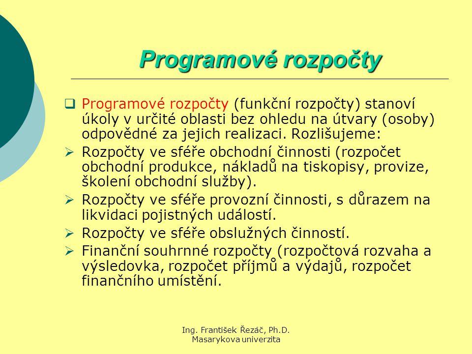 Ing. František Řezáč, Ph.D. Masarykova univerzita Programové rozpočty  Programové rozpočty (funkční rozpočty) stanoví úkoly v určité oblasti bez ohle