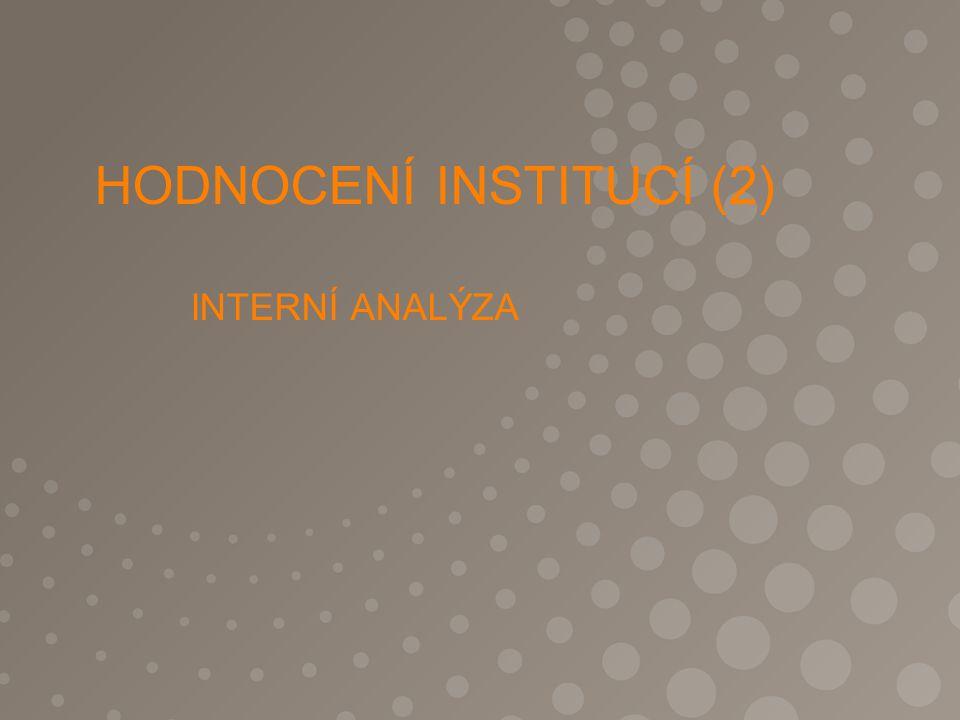 HODNOCENÍ INSTITUCÍ (2) INTERNÍ ANALÝZA