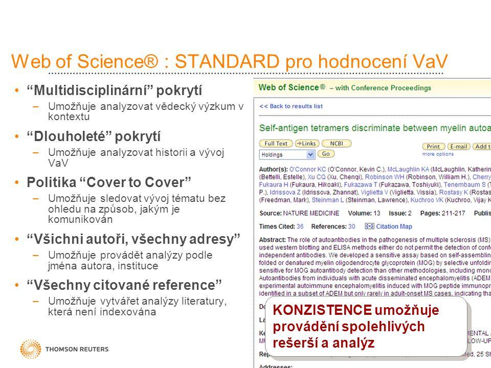 Web of Science® : STANDARD pro hodnocení VaV Multidisciplinární pokrytí –Umožňuje analyzovat vědecký výzkum v kontextu Dlouholeté pokrytí –Umožňuje analyzovat historii a vývoj VaV Politika Cover to Cover –Umožňuje sledovat vývoj tématu bez ohledu na způsob, jakým je komunikován Všichni autoři, všechny adresy –Umožňuje provádět analýzy podle jména autora, instituce Všechny citované reference –Umožňuje vytvářet analýzy literatury, která není indexována KONZISTENCE umožňuje provádění spolehlivých rešerší a analýz