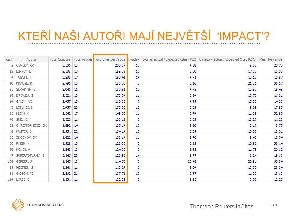 KTEŘÍ NAŠI AUTOŘI MAJÍ NEJVĚTŠÍ 'IMPACT' 40 Thomson Reuters InCites