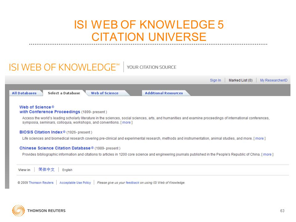 ISI WEB OF KNOWLEDGE 5 CITATION UNIVERSE 63