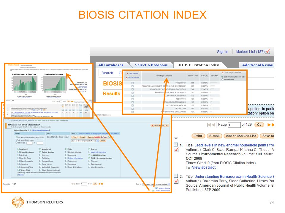 BIOSIS CITATION INDEX 74