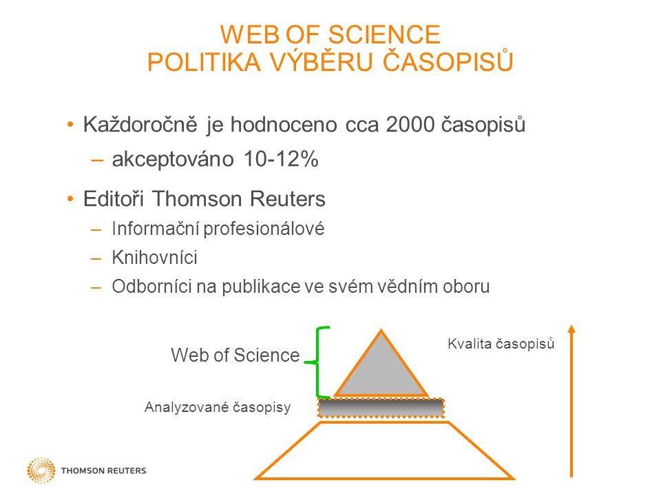 WEB OF SCIENCE POLITIKA VÝBĚRU ČASOPISŮ Každoročně je hodnoceno cca 2000 časopisů –akceptováno 10-12% Editoři Thomson Reuters –Informační profesionálové –Knihovníci –Odborníci na publikace ve svém vědním oboru Web of Science Analyzované časopisy Kvalita časopisů
