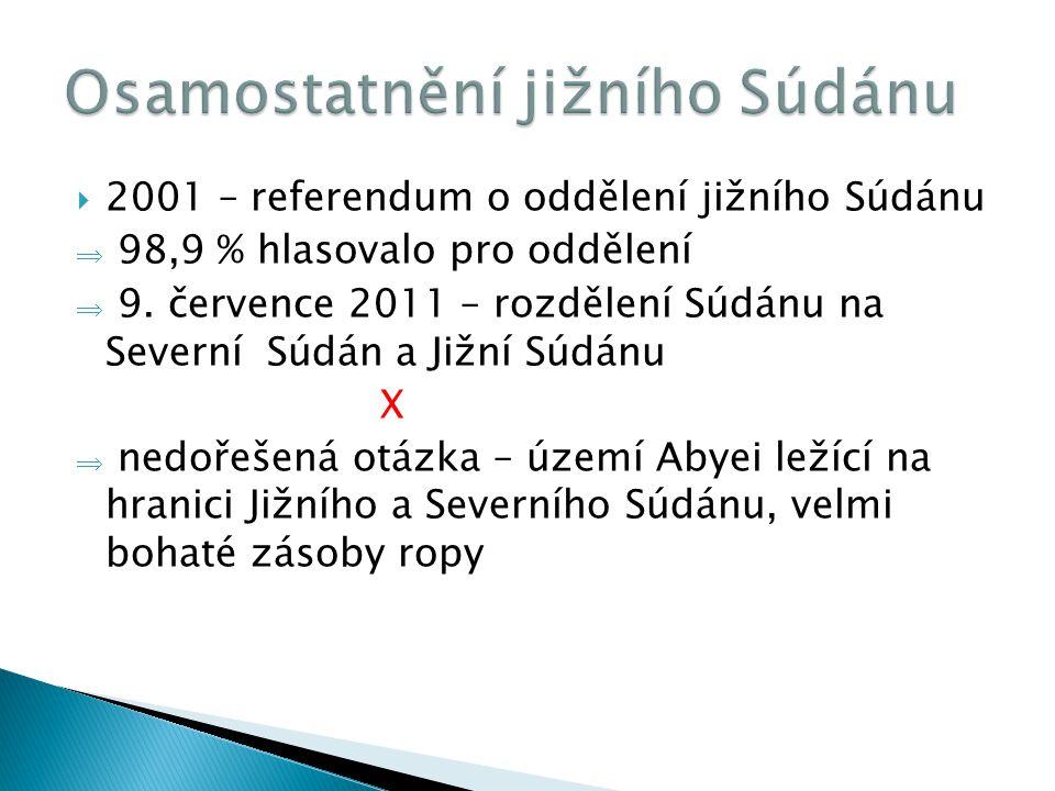  2001 – referendum o oddělení jižního Súdánu  98,9 % hlasovalo pro oddělení  9. července 2011 – rozdělení Súdánu na Severní Súdán a Jižní Súdánu X