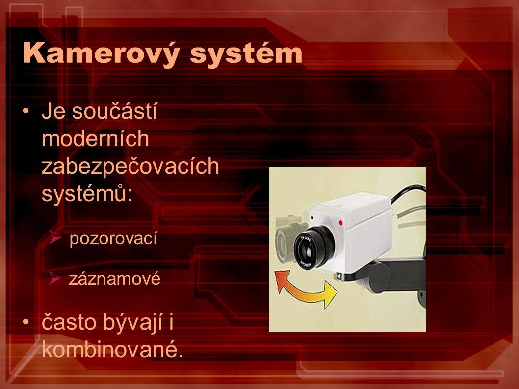 Kamerový systém Je součástí moderních zabezpečovacích systémů:  pozorovací  záznamové často bývají i kombinované.