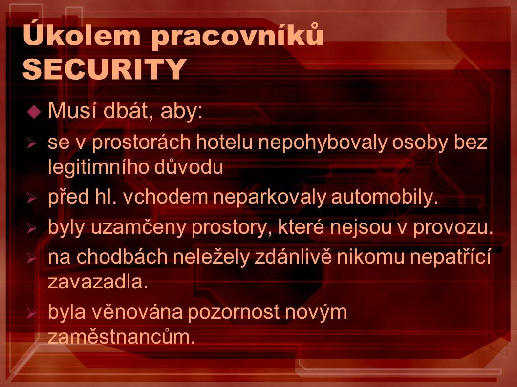 Úkolem pracovníků SECURITY  Musí dbát, aby:  se v prostorách hotelu nepohybovaly osoby bez legitimního důvodu  před hl. vchodem neparkovaly automob