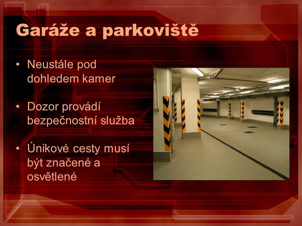 Garáže a parkoviště Neustále pod dohledem kamer Dozor provádí bezpečnostní služba Únikové cesty musí být značené a osvětlené