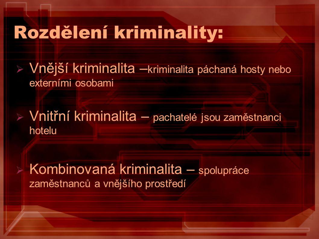 Rozdělení kriminality:  Vnější kriminalita – kriminalita páchaná hosty nebo externími osobami  Vnitřní kriminalita – pachatelé jsou zaměstnanci hote