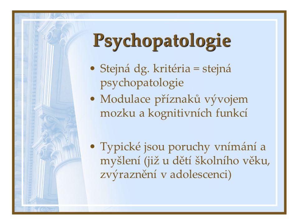 Psychopatologie Stejná dg. kritéria = stejná psychopatologie Modulace příznaků vývojem mozku a kognitivních funkcí Typické jsou poruchy vnímání a myšl