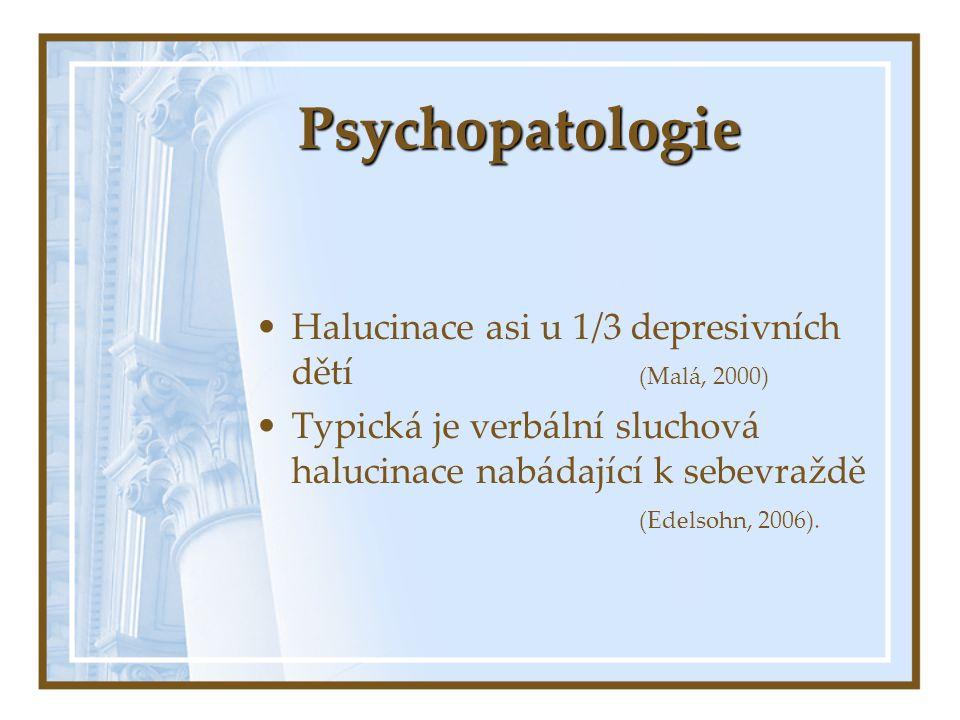 Psychopatologie Halucinace asi u 1/3 depresivních dětí (Malá, 2000) Typická je verbální sluchová halucinace nabádající k sebevraždě (Edelsohn, 2006).