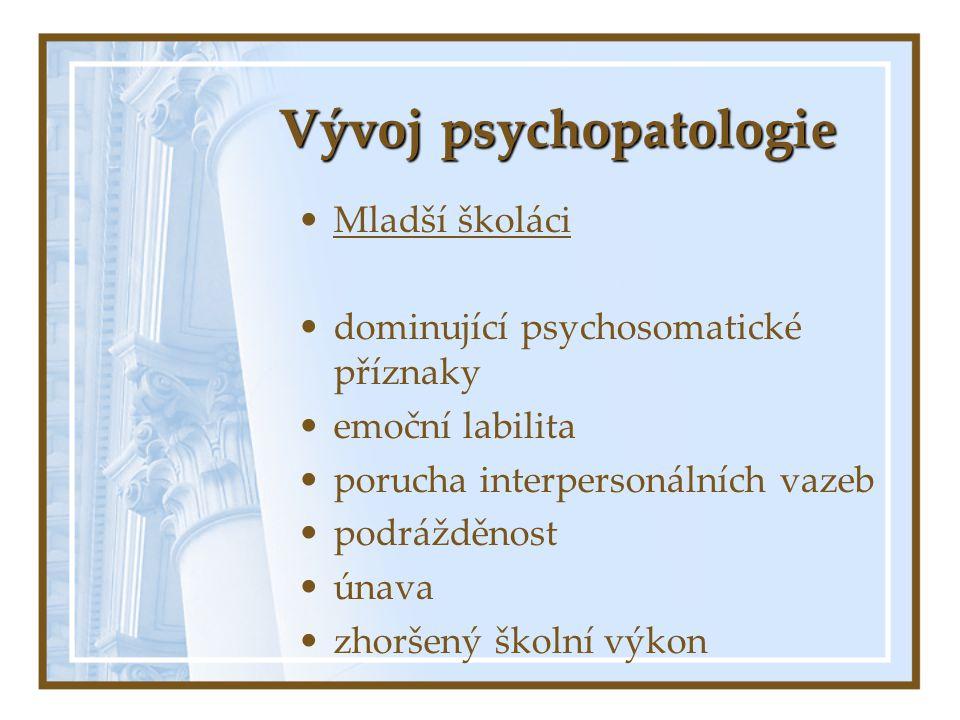 Vývoj psychopatologie Mladší školáci dominující psychosomatické příznaky emoční labilita porucha interpersonálních vazeb podrážděnost únava zhoršený š