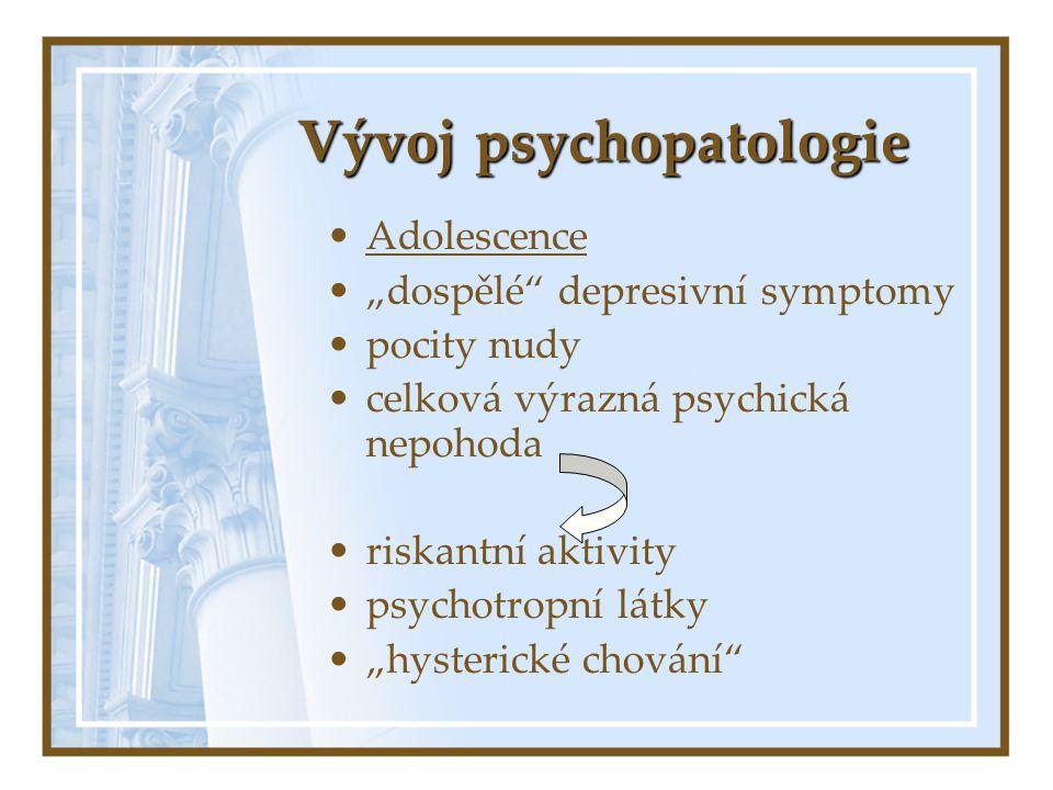 """Vývoj psychopatologie Adolescence """"dospělé"""" depresivní symptomy pocity nudy celková výrazná psychická nepohoda riskantní aktivity psychotropní látky """""""