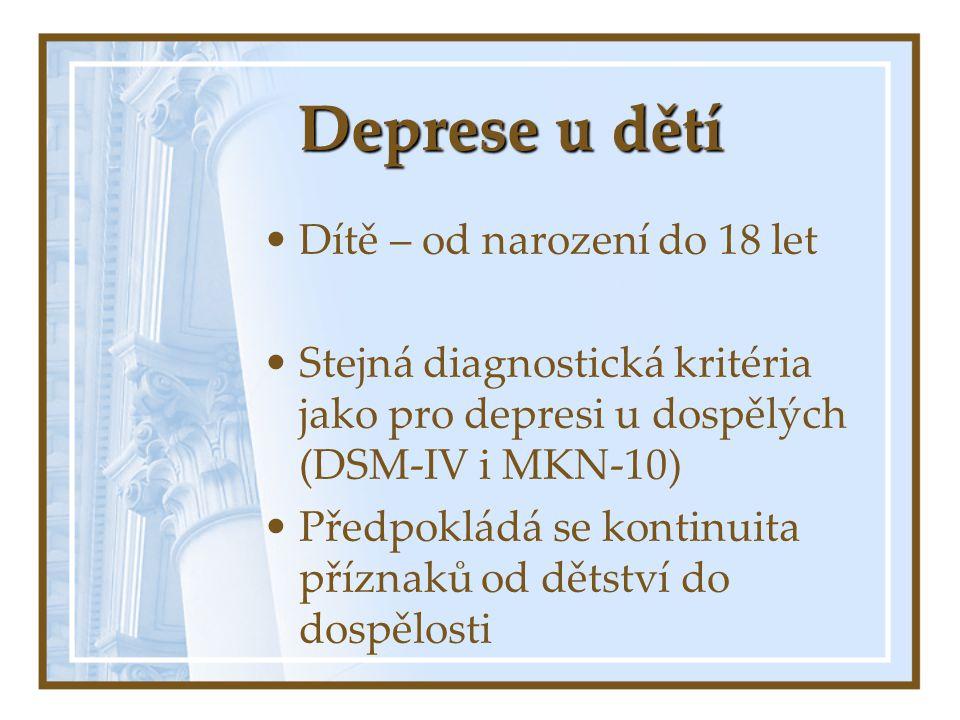 Deprese u dětí Dítě – od narození do 18 let Stejná diagnostická kritéria jako pro depresi u dospělých (DSM-IV i MKN-10) Předpokládá se kontinuita příz