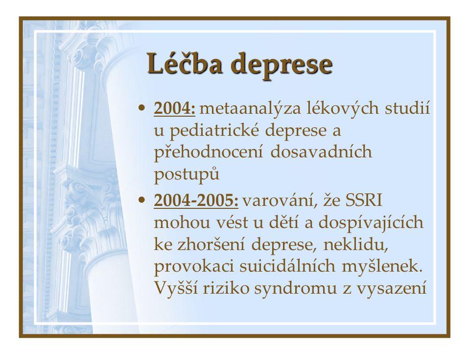 Léčba deprese 2004: metaanalýza lékových studií u pediatrické deprese a přehodnocení dosavadních postupů 2004-2005: varování, že SSRI mohou vést u dět