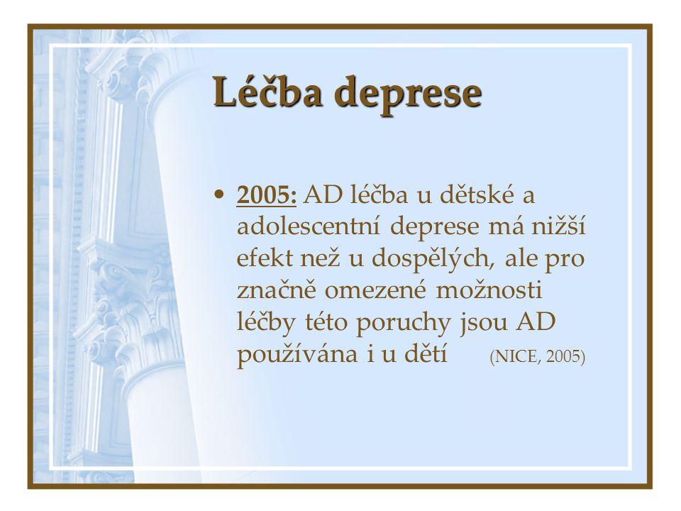 Léčba deprese 2005: AD léčba u dětské a adolescentní deprese má nižší efekt než u dospělých, ale pro značně omezené možnosti léčby této poruchy jsou A