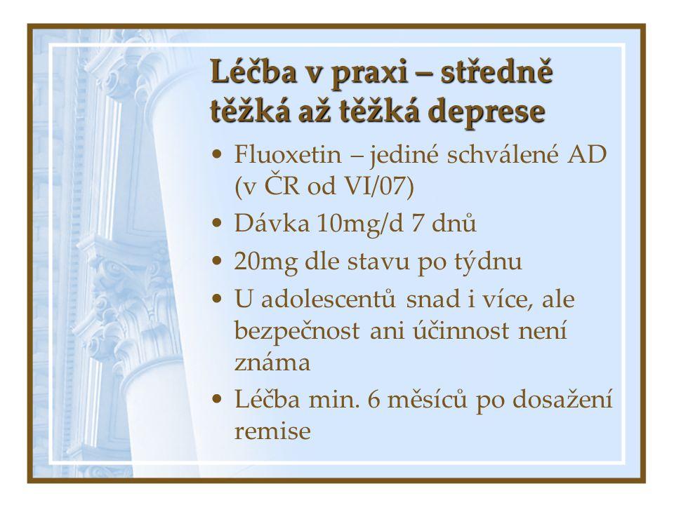 Léčba v praxi – středně těžká až těžká deprese Fluoxetin – jediné schválené AD (v ČR od VI/07) Dávka 10mg/d 7 dnů 20mg dle stavu po týdnu U adolescent