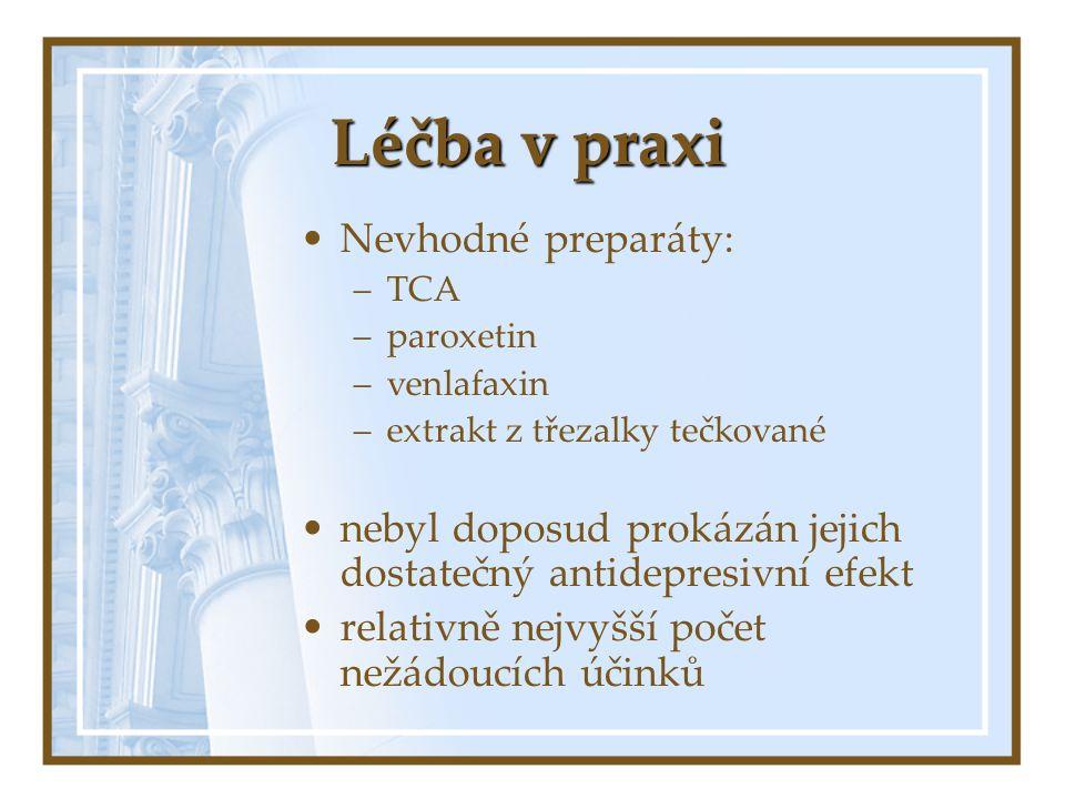 Léčba v praxi Nevhodné preparáty: –TCA –paroxetin –venlafaxin –extrakt z třezalky tečkované nebyl doposud prokázán jejich dostatečný antidepresivní ef