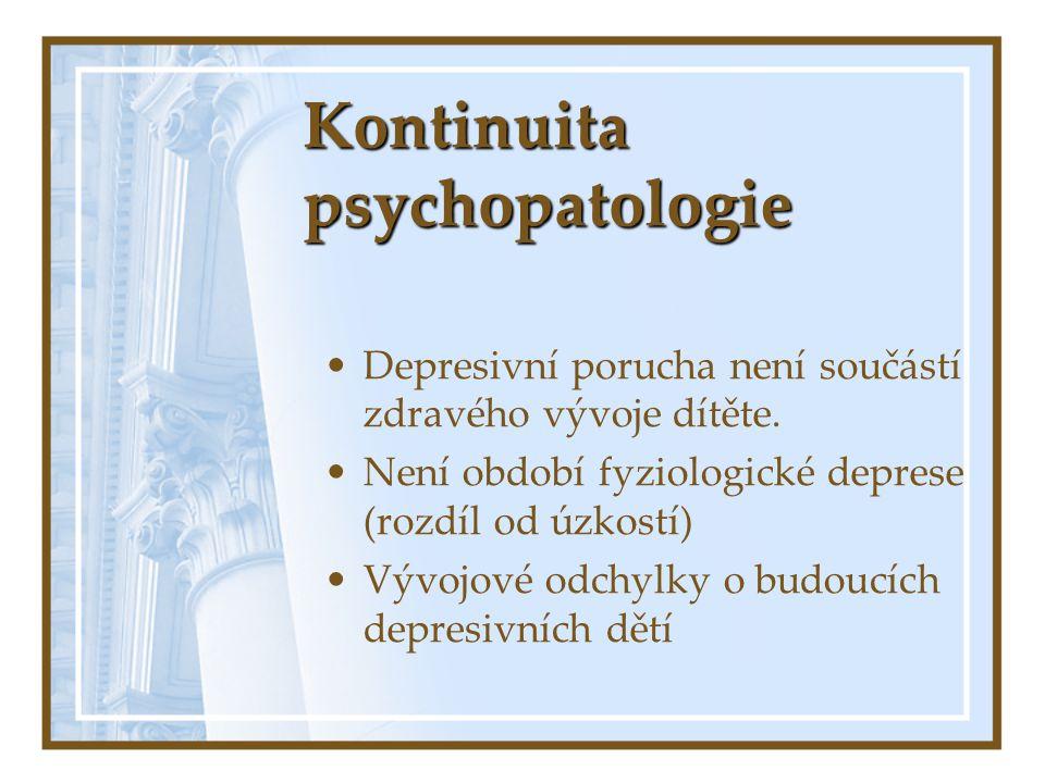Kontinuita psychopatologie Depresivní porucha není součástí zdravého vývoje dítěte. Není období fyziologické deprese (rozdíl od úzkostí) Vývojové odch