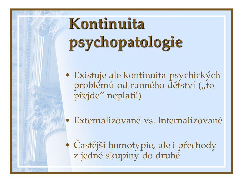"""Kontinuita psychopatologie Existuje ale kontinuita psychických problémů od ranného dětství (""""to přejde"""" neplatí!) Externalizované vs. Internalizované"""