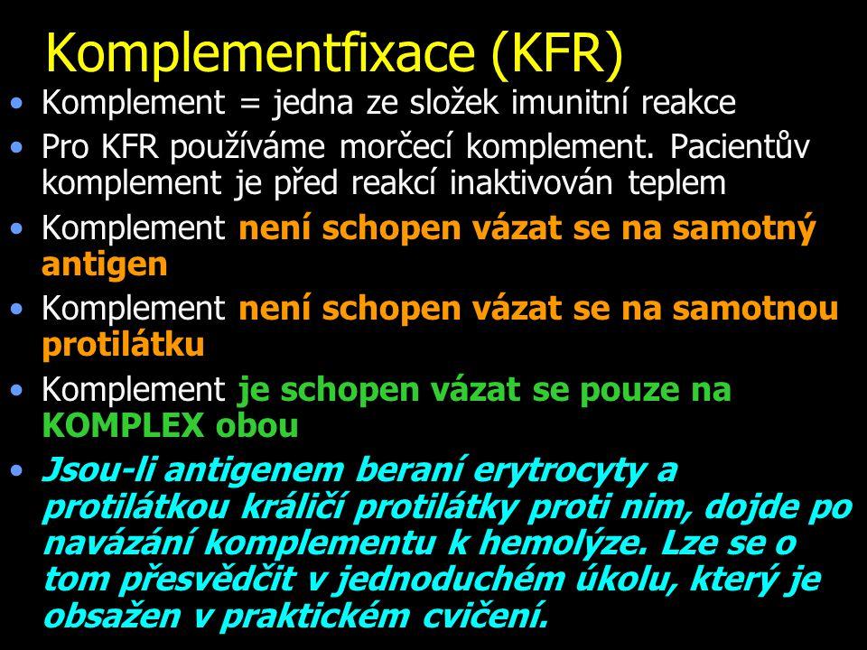 Komplementfixace (KFR) Komplement = jedna ze složek imunitní reakce Pro KFR používáme morčecí komplement. Pacientův komplement je před reakcí inaktivo