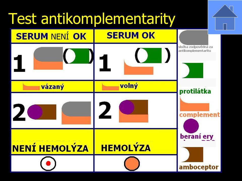 Test antikomplementarity NENÍ