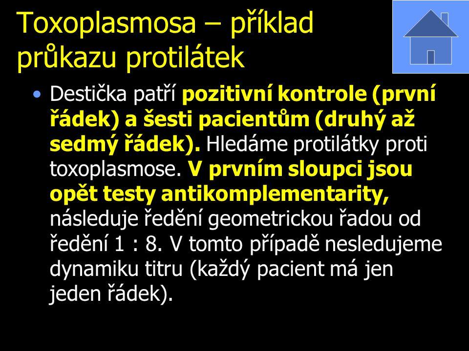 Toxoplasmosa – příklad průkazu protilátek Destička patří pozitivní kontrole (první řádek) a šesti pacientům (druhý až sedmý řádek). Hledáme protilátky