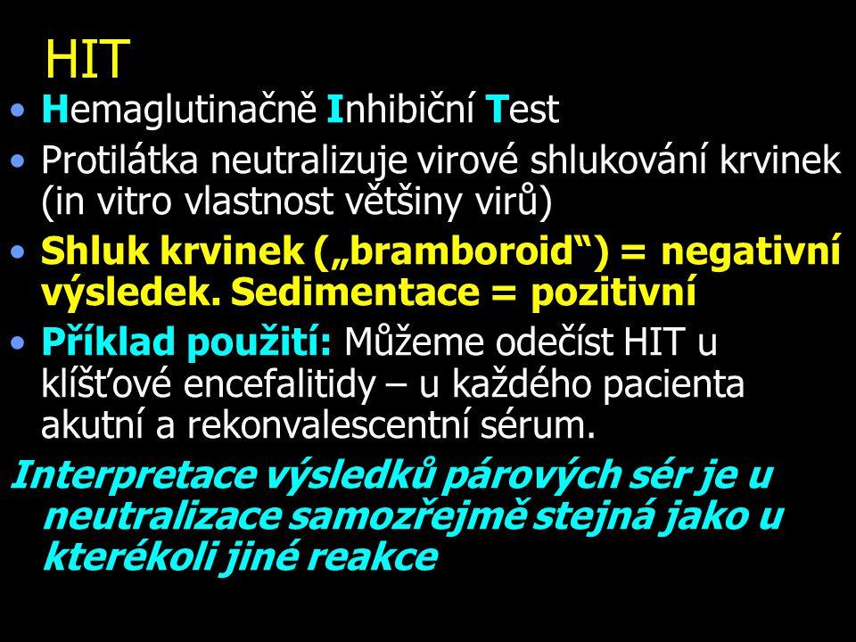 """HIT Hemaglutinačně Inhibiční Test Protilátka neutralizuje virové shlukování krvinek (in vitro vlastnost většiny virů) Shluk krvinek (""""bramboroid"""") = n"""
