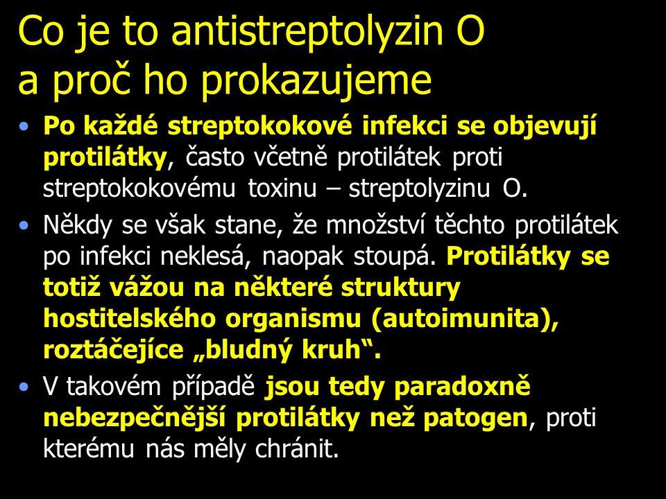 Co je to antistreptolyzin O a proč ho prokazujeme Po každé streptokokové infekci se objevují protilátky, často včetně protilátek proti streptokokovému