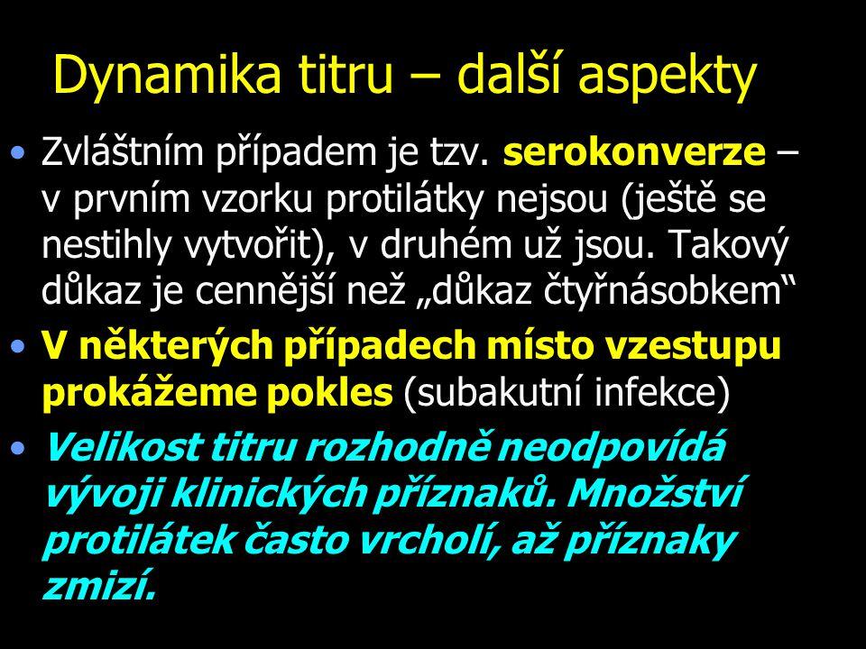 Příklady různých projevů dynamiky titru 1 – 2: sérokonverze 3 – 4: vzestup titru 5 – 6: pokles titru