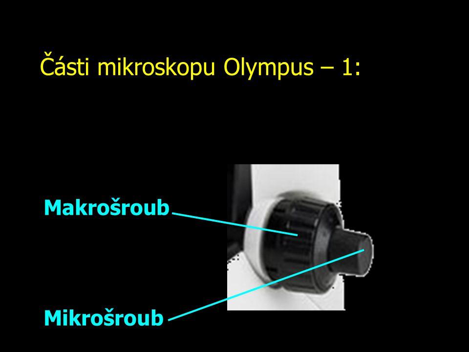 Části mikroskopu Olympus – 1: Makrošroub: nikdy ho nepoužívejte, když se díváte do mikroskopu.