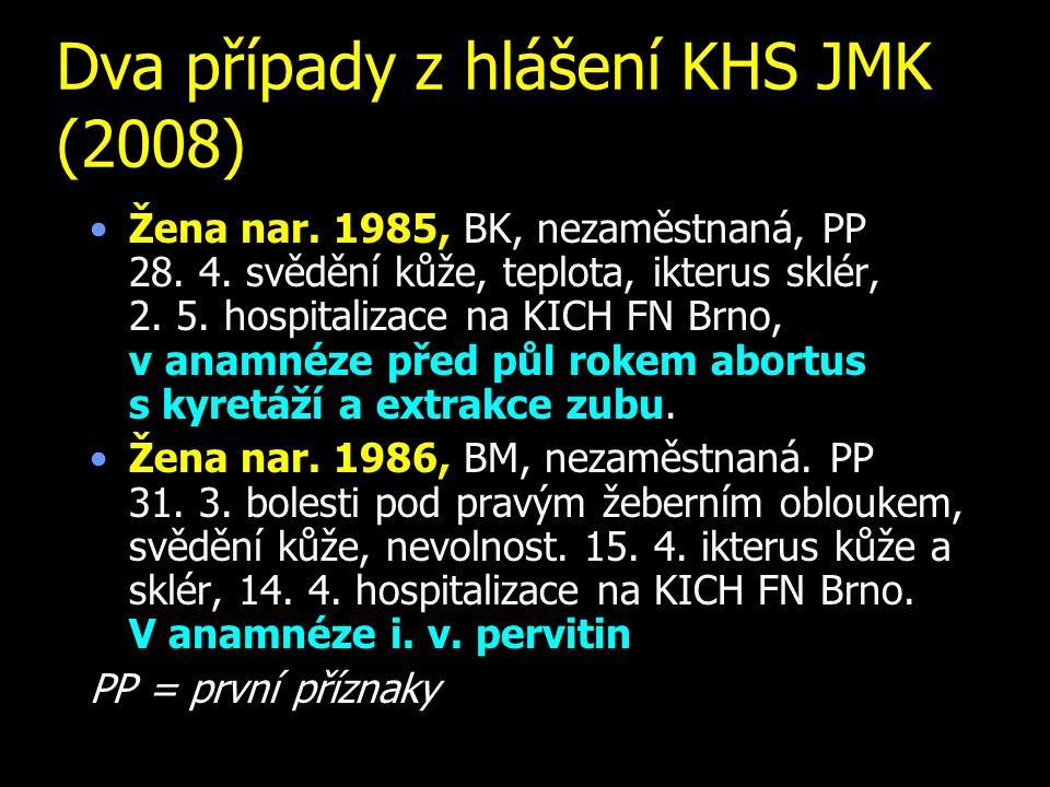 Dva případy z hlášení KHS JMK (2008) Žena nar.1985, BK, nezaměstnaná, PP 28.