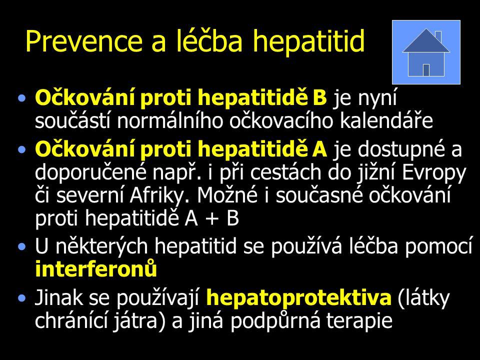 Prevence a léčba hepatitid Očkování proti hepatitidě B je nyní součástí normálního očkovacího kalendáře Očkování proti hepatitidě A je dostupné a doporučené např.