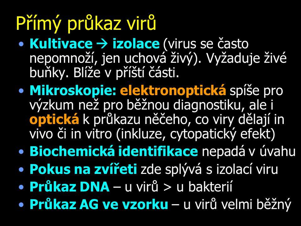 Přímý průkaz virů Kultivace  izolace (virus se často nepomnoží, jen uchová živý).