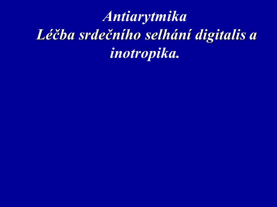 Léčba srdečního selhání digitalis a Antiarytmika Léčba srdečního selhání digitalis a inotropika.