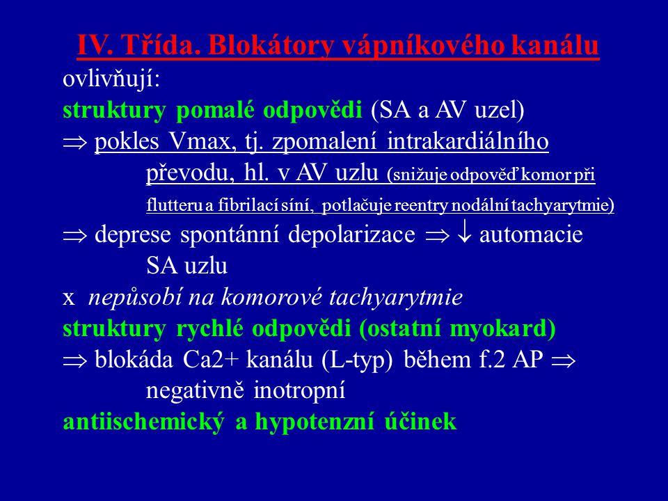 IV. Třída. Blokátory vápníkového kanálu ovlivňují: struktury pomalé odpovědi (SA a AV uzel)  pokles Vmax, tj. zpomalení intrakardiálního převodu, hl.