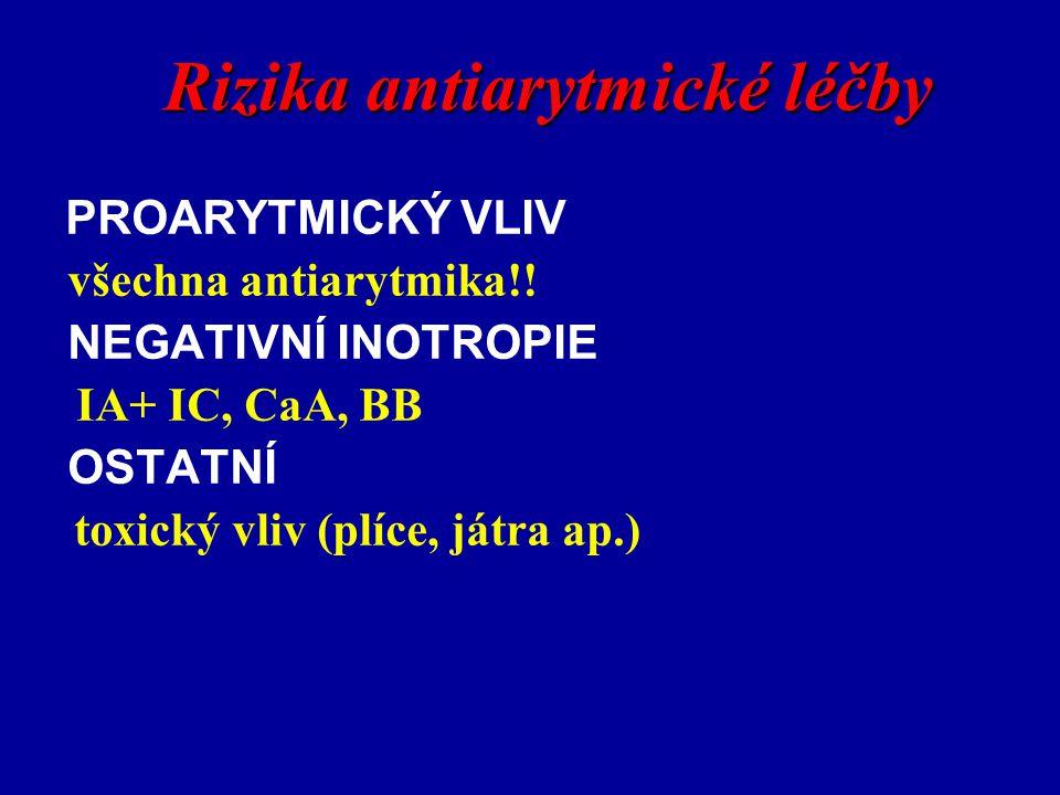 Rizika antiarytmické léčby PROARYTMICKÝ VLIV všechna antiarytmika!! NEGATIVNÍ INOTROPIE IA+ IC, CaA, BB OSTATNÍ toxický vliv (plíce, játra ap.)