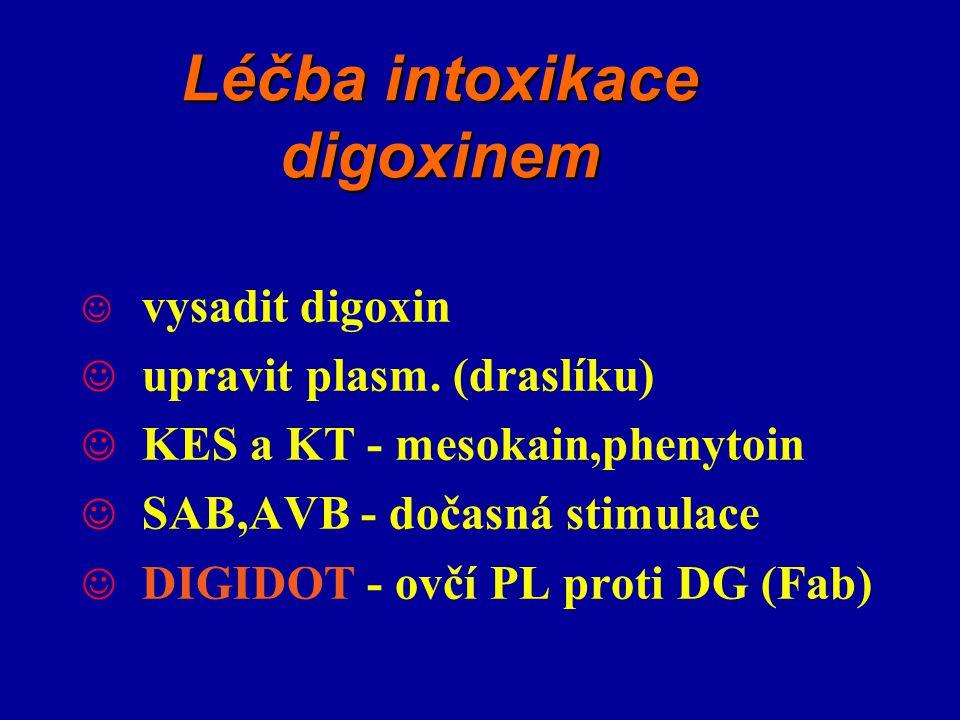 Léčba intoxikace digoxinem vysadit digoxin upravit plasm. (draslíku) KES a KT - mesokain,phenytoin SAB,AVB - dočasná stimulace DIGIDOT - ovčí PL proti