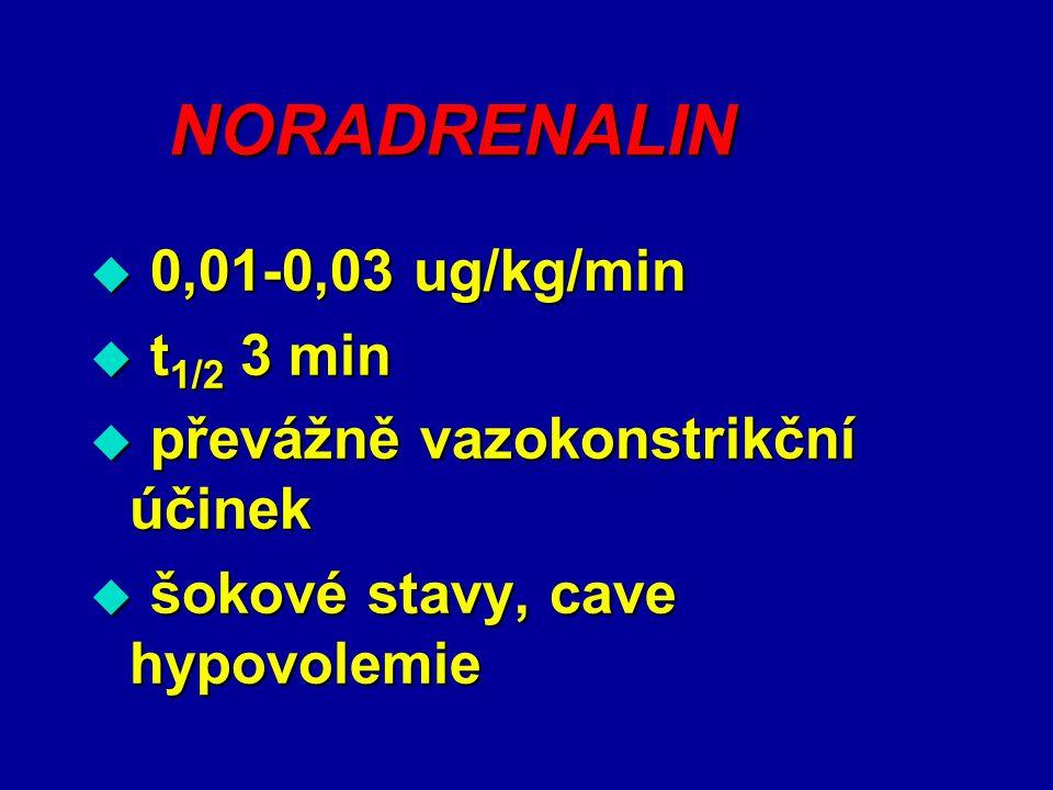NORADRENALIN  0,01-0,03 ug/kg/min  t 1/2 3 min  převážně vazokonstrikční účinek  šokové stavy, cave hypovolemie