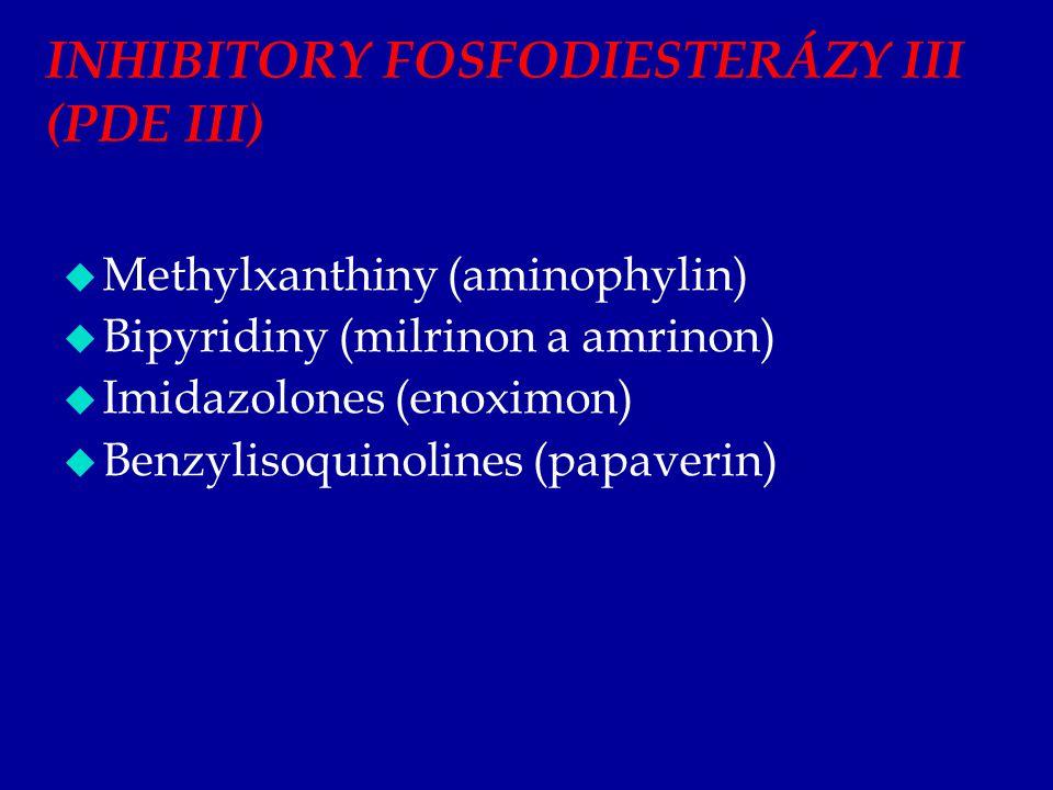 INHIBITORY FOSFODIESTERÁZY III (PDE III)  Methylxanthiny (aminophylin)  Bipyridiny (milrinon a amrinon)  Imidazolones (enoximon)  Benzylisoquinoli