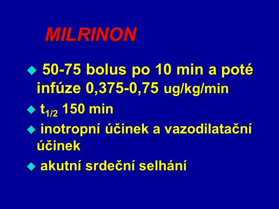 MILRINON  50-75 bolus po 10 min a poté infúze 0,375-0,75 ug/kg/min  t 1/2 150 min  inotropní účinek a vazodilatační účinek  akutní srdeční selhání
