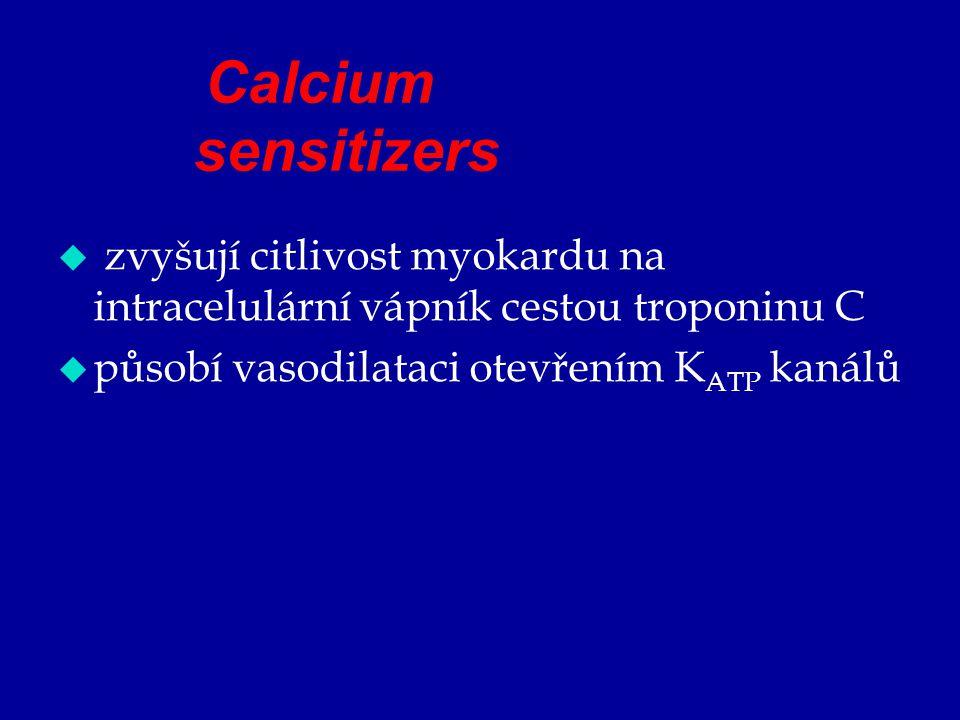 Calcium sensitizers  zvyšují citlivost myokardu na intracelulární vápník cestou troponinu C  působí vasodilataci otevřením K ATP kanálů