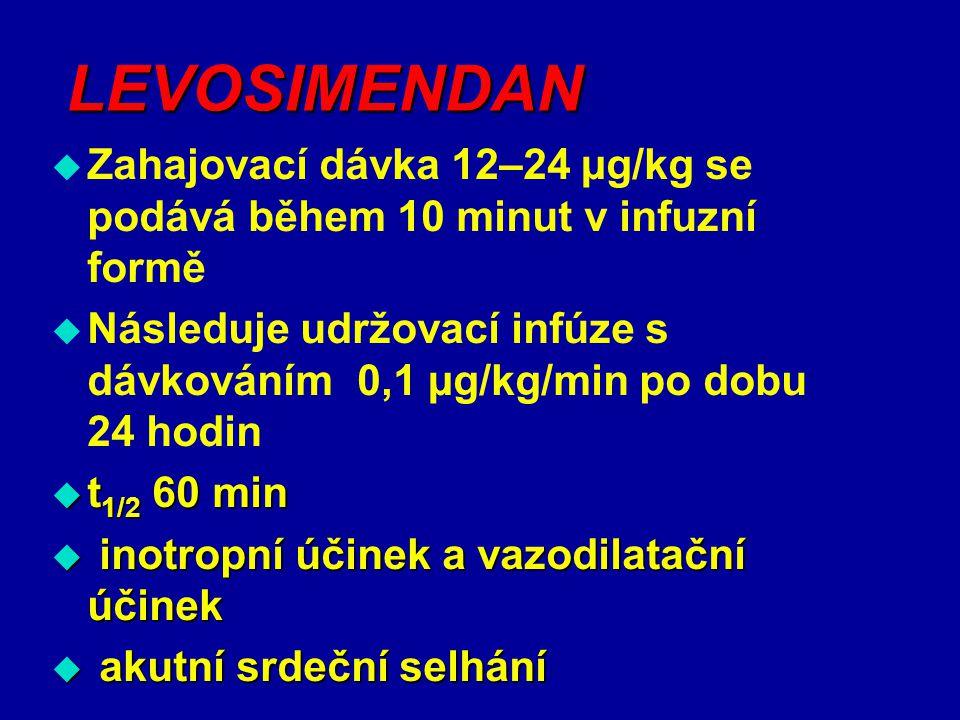 LEVOSIMENDAN  Zahajovací dávka 12–24 µg/kg se podává během 10 minut v infuzní formě  Následuje udržovací infúze s dávkováním 0,1 µg/kg/min po dobu 2