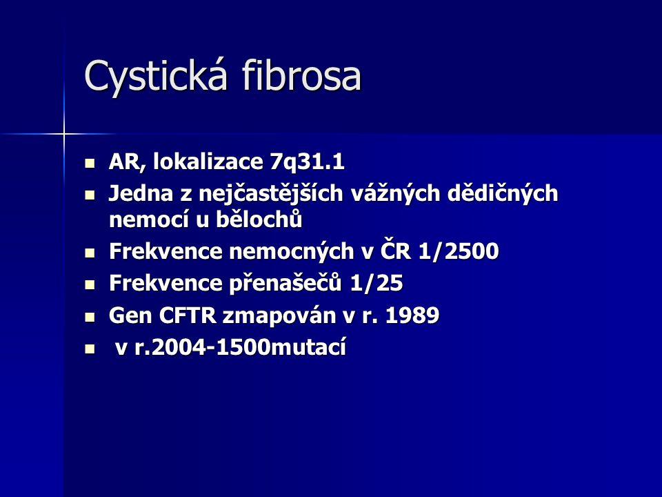 Cystická fibrosa AR, lokalizace 7q31.1 AR, lokalizace 7q31.1 Jedna z nejčastějších vážných dědičných nemocí u bělochů Jedna z nejčastějších vážných dědičných nemocí u bělochů Frekvence nemocných v ČR 1/2500 Frekvence nemocných v ČR 1/2500 Frekvence přenašečů 1/25 Frekvence přenašečů 1/25 Gen CFTR zmapován v r.