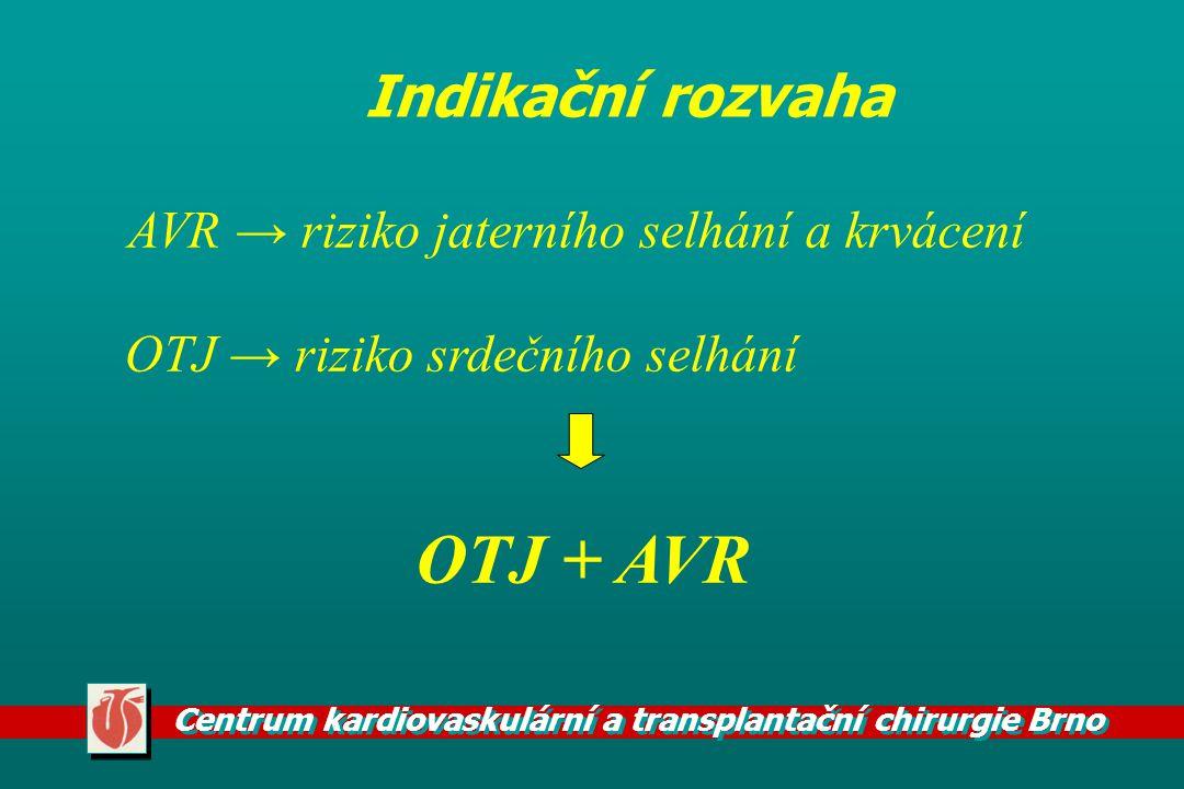 Centrum kardiovaskulární a transplantační chirurgie Brno AVR → riziko jaterního selhání a krvácení OTJ → riziko srdečního selhání OTJ + AVR Indikační