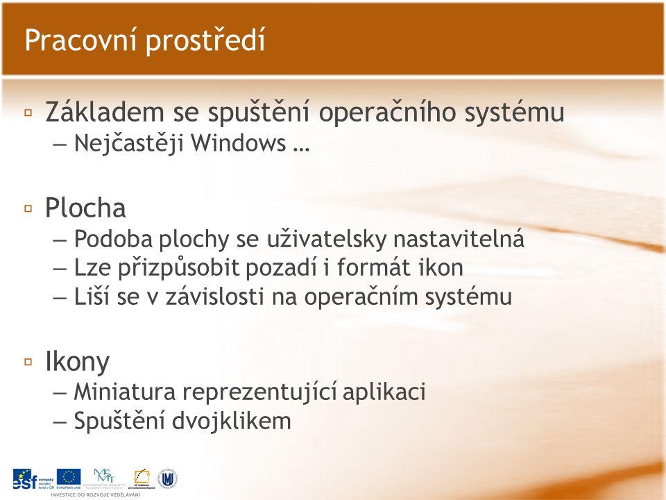 ▫ Okno aplikace – Ovládací prvky okna ▫ Hlavní panelová nabídka Pracovní prostředí