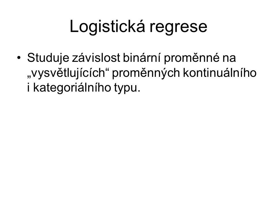 """Logistická regrese Studuje závislost binární proměnné na """"vysvětlujících"""" proměnných kontinuálního i kategoriálního typu."""